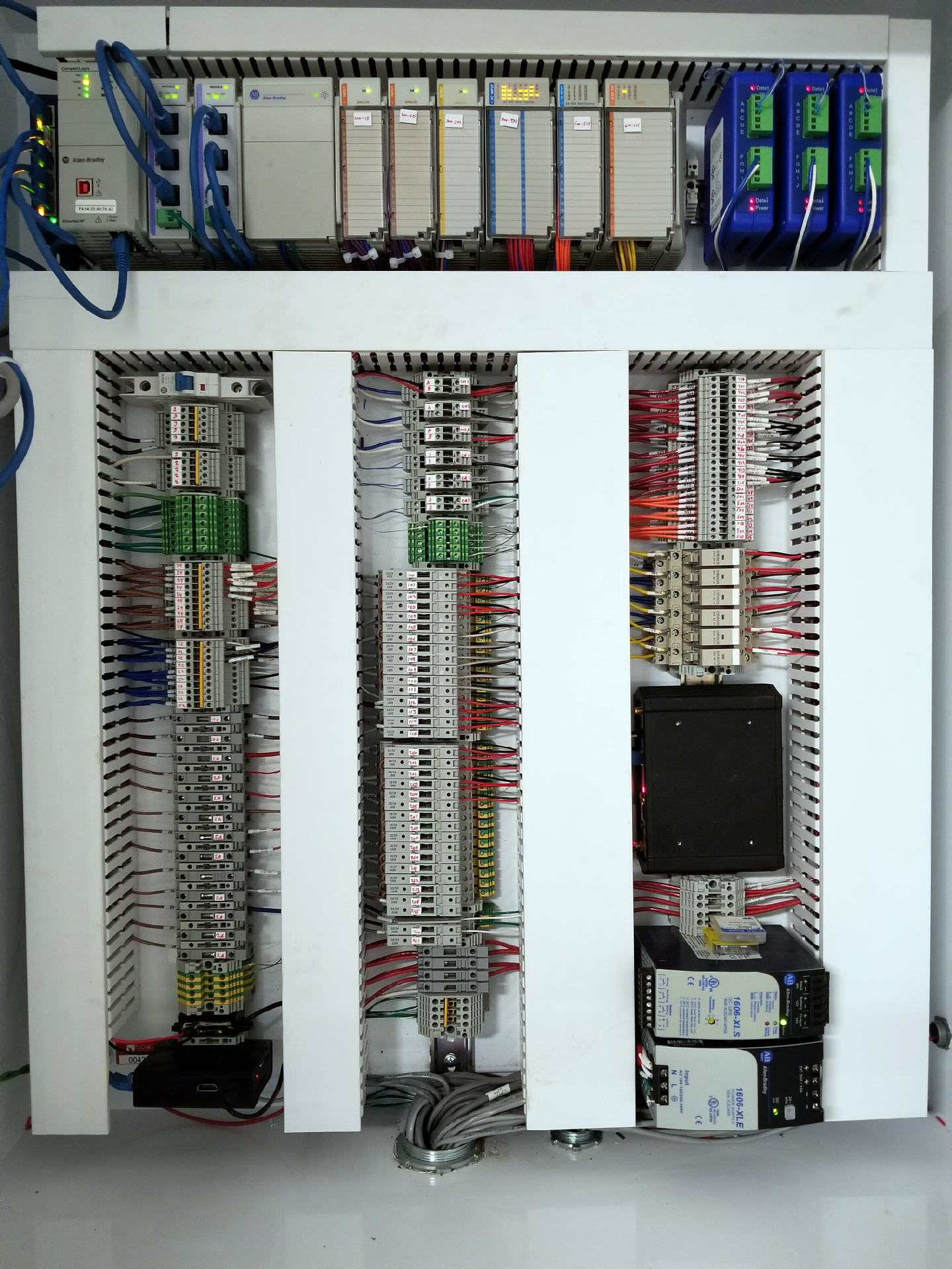 Interior of Plow Technologies Custom Built Automation PLC Panel